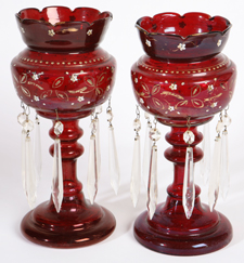 PR. VICTORIAN ENAMELED RUBY GLASS LUSTRES