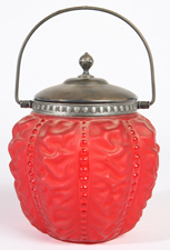 VICTORIAN RUBY SATIN GLAZE BISCUIT JAR