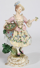 CAPODIMONTE PORCELAIN FIGURE OF FLOWER SELLER