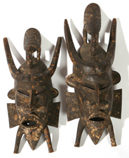 TWO TRIBAL WOODEN MASKS
