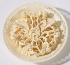 CHINESE CARVED IVORY BOWL OF FLOWERS