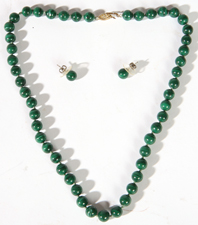 CHINESE MALACHITE BEADED NECKLACE & EARRINGS