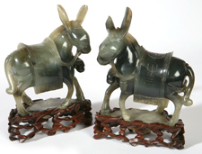 PR. CHINESE JADE DONKEYS ON STANDS