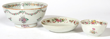 CHINESE EXPORT PORCELAIN BOWL & CUPS & SAUCER