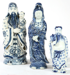 THREE CHINESE BLUE & WHITE PORCELAIN FIGURES