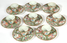 8 CHINESE FAMILE ROSE CUPS & SAUCERS