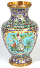LG. CHINESE SHADED CLOISONNE VASE