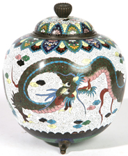 FINE CLOISONNE COVERED GINGER JAR