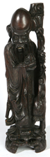 CHINESE CARVED TEAK BRASS INLAID  IMMORTAL