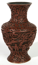 EARLY CHINESE CINNABAR VASE