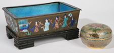 CHINESE ENAMELED DISH & CHAMPLEVE GLASS BOX
