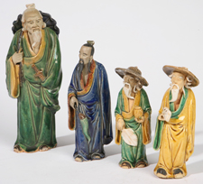 FOUR CHINESE TERRACOTTA MUD MEN
