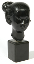 CHINESE BRONZE ARTIST SIGNED BUST OF YOUNG LADY