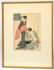 JAPANESE WOODBLOCK OF TWO LADIES DRESSING