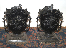 Pr. of Cast Iron Yard Urns
