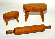 Curly Maple Stools & Rolling Pin