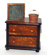Early Miniature Chest, Mirror & Bucket