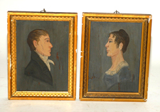 Pr. of Early Portrait Paintings on Wood