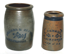 A.C. Conrad Shinnston, WV & Hamilton Blue Decorated Jars