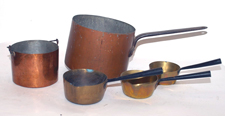 Early Dovetailed Copper & Brass Pans