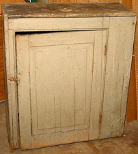 Early 1-Door Cabinet w/Old Blue Paint