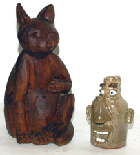 Wooden Folk Art Cat & Tony Hesey Face Jug