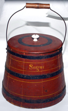 Early Shaker Sugar Bucket w/Old Red Paint