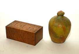 Early Curly Maple Box & Redware Bank