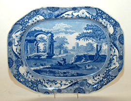 Large Early Transferware Platter