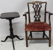 Chippendale Arm Chair & Candle Stand