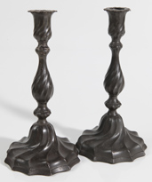 PAIR OF EARLY PEWTER CANDLESTICKS