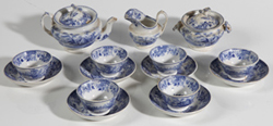 EARLY 15-PC. STAFFORDSHIRE BLUE CHILDS TEA SET