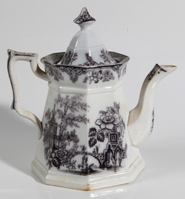 EARLY BLACK TRANSFERWARE TEAPOT