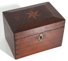 EARLY WALNUT DOVETAILED INLAID BOX