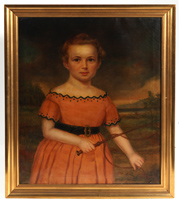 19TH CENTURY FOLK ART PAINTING OF CHILD