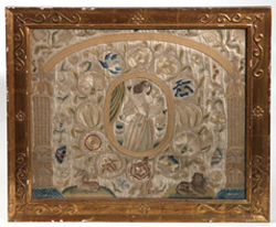 LG. EARLY NEEDLEWORK ON SILK