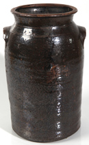 STONEWARE CHURN W/UNUSUAL GLAZE