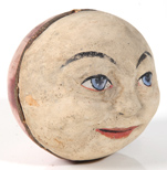 EARLY PAPER MACHE MAN OF THE MOON RATTLE