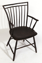 WINDSOR 9-SPINDLE ARM CHAIR W/ OLD BLACK PAINT