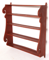 EARLY HANGING PLATE RACK IN OLD RED