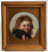 OIL PAINTING OF CHILD HOLDING DOG