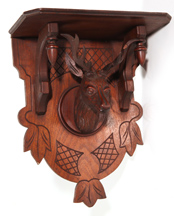 FINE VICTORIAN SHELF W/CARVED DEER HEAD