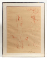 SALVADOR DALI ETCHING OF TWO NUDES