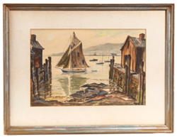 RUSSELL WINTHER WATERCOLOR OF SAILBOAT