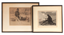 TWO GORDON GRANT FISHING ETCHINGS