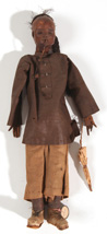 EARLY LEATHER ORIENTAL FIGURE OR DOLL