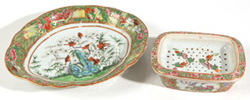 CHINESE FAMILE ROSE SOAP DISH & TRAY
