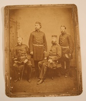 ALBUMEN PHOTOGRAPH OF 4 MEN IN MILITARY UNIFORM