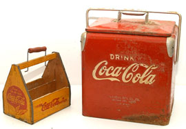 Small Coca-Cola Cooler & Wooden Carrier