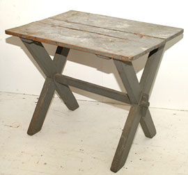 Early Sawbuck Table with Old Paint